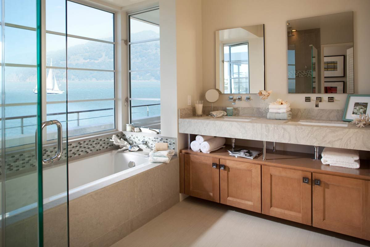Modern Hotel Feeling Bathroom Double Vanities. Waypoint Living Spaces |  Style 420T In Maple