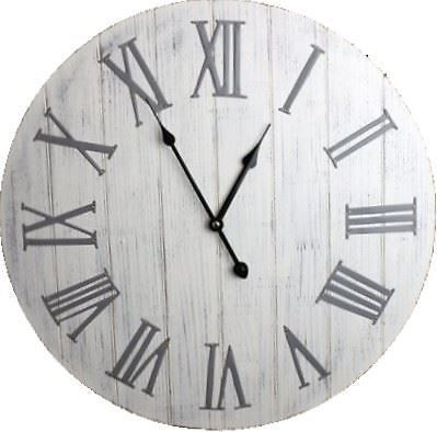 Large White Washed Wooden Wall Clock With Silver Metal Roman Numerals 50cm Ebay White Wall Clocks Rustic Wall Clocks Large Silver Wall Clock