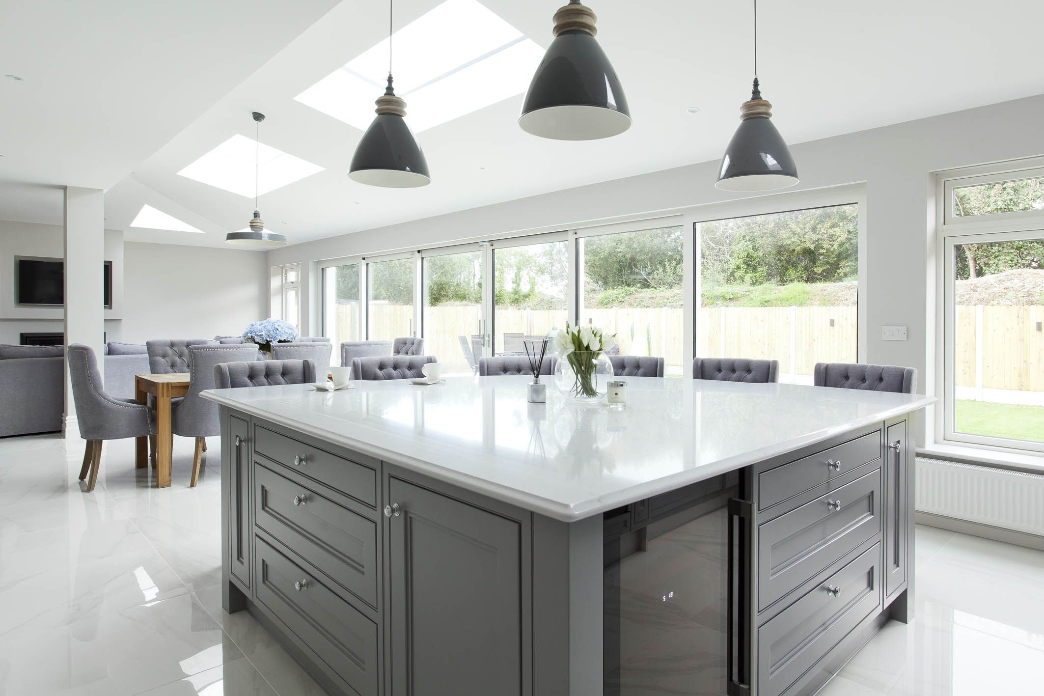 Grey White And Oak Kitchen Open Plan Kitchen Dining Living Modern Kitchen Design Open Plan Kitchen Living Room