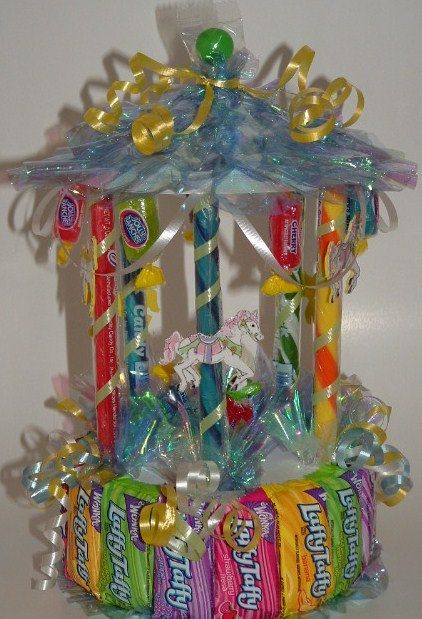 CANDY CAROUSEL Table Top Centerpiece! (A type of Candy Bouquet) Great for Showers, Carnival, or Circus Themes :)