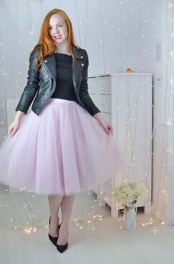 02af14b6b7d black biker jacket and pink tulle skirt