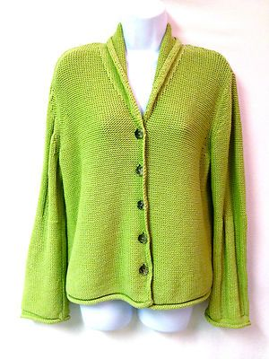 J Jill Womens Lime Green Long Sleeve Button Front Knit Cardigan ...