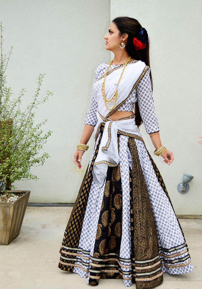 5b51c01685b4e3 Rajaastani Block Printed Black & White - Gopi Skirt Outfit – Radha  Govinda's Fashions -Gopi