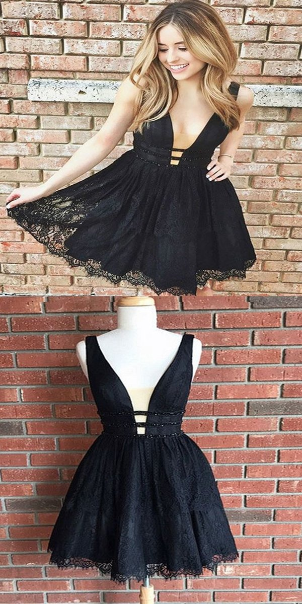 Sexy Deep V Neck Short Lace Black Homecoming Dressestwo Straps