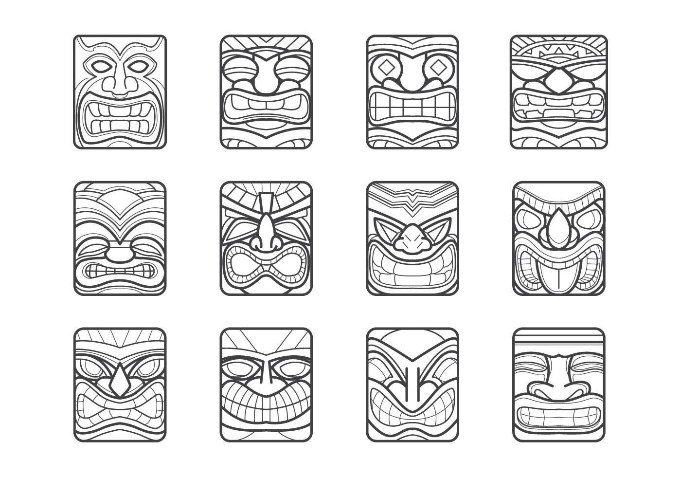 Hawaii Tiki Mask Vector Pack