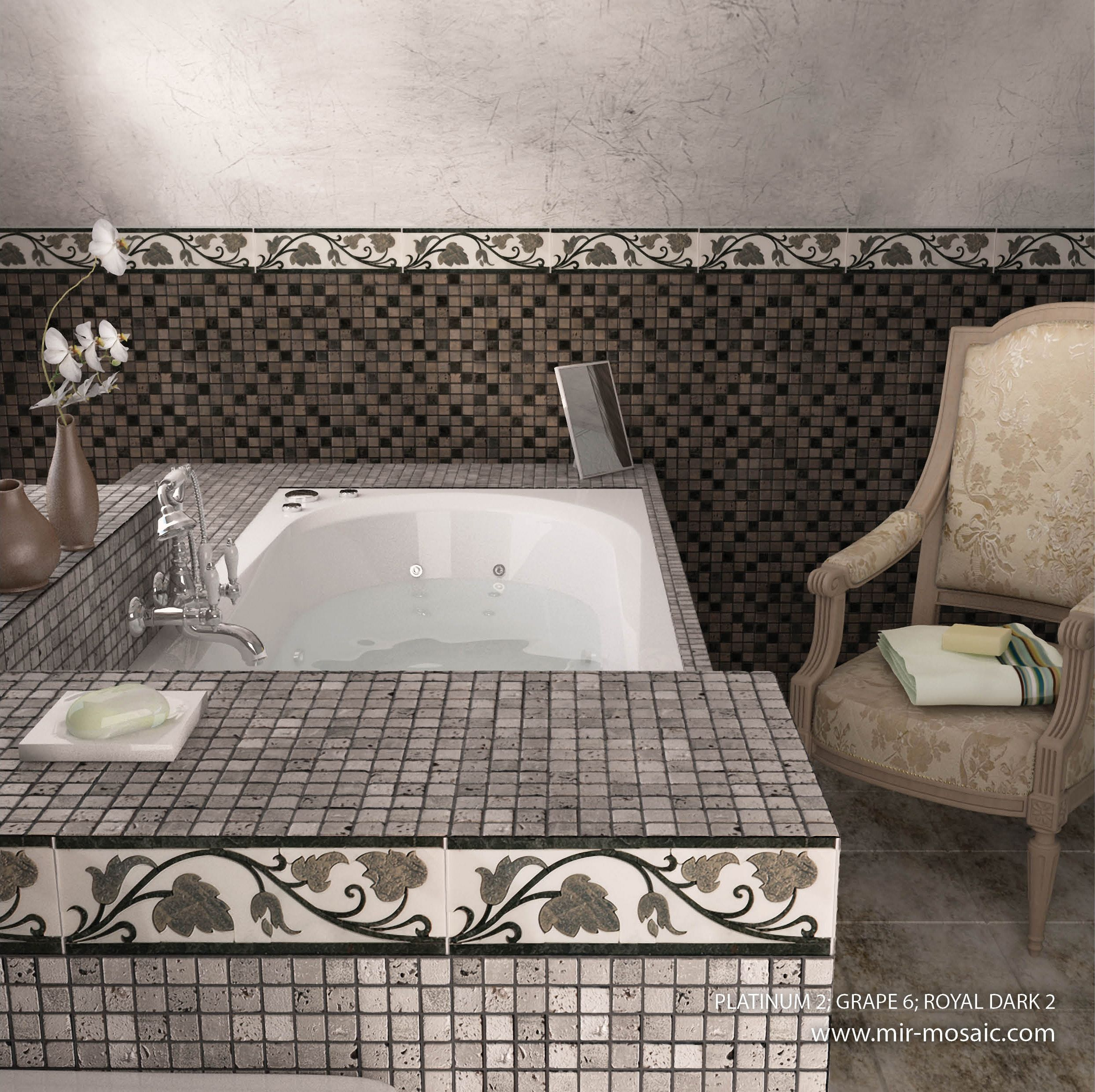 Chic bathroom designs with Skalini line Mir Mosaic Tile