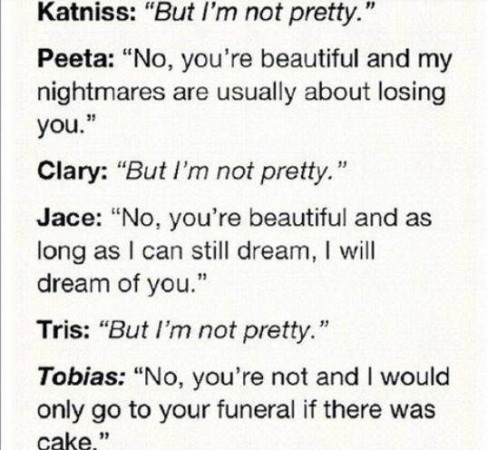 Divergent fans will understand   katniss and peeta   clary and jace   tris and four   catching fire   the mortal instruments   divergent