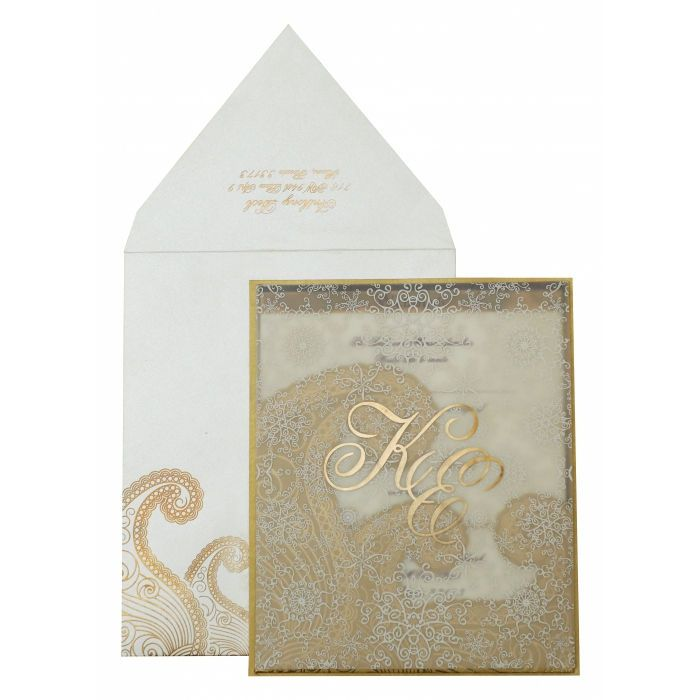 OFF-WHITE GOLD SHIMMERY SCREEN PRINTED WEDDING INVITATION : I-829 - 123WeddingCards #shimmeryweddingcards #shimmeryweddinginvitations #shimmerycards #shimmeryinvitations #shimmeryinvites #invitationcards