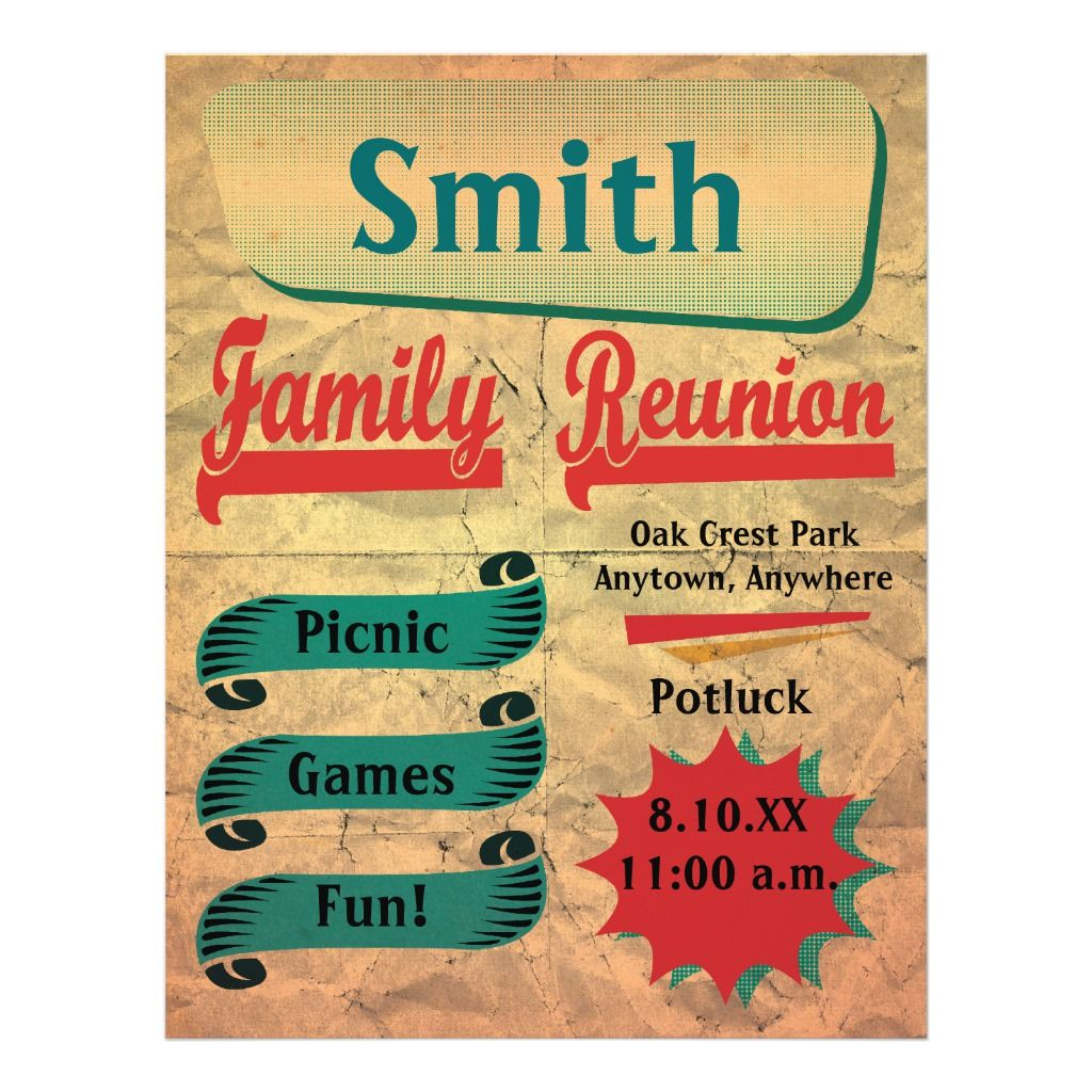 Vintage Retro Family Gathering Reunion Flyer Zazzle Com Family Reunion Invitations Reunion Invitations Family Reunion