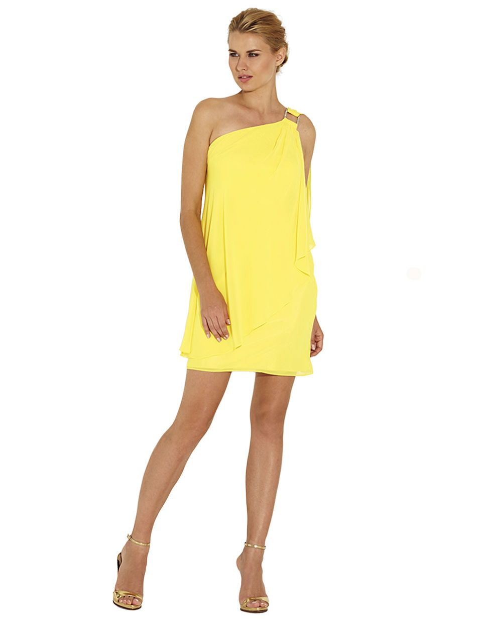Yellow Chiffon One Shoulder Cape Cocktail Dress | fashjourney.com ...