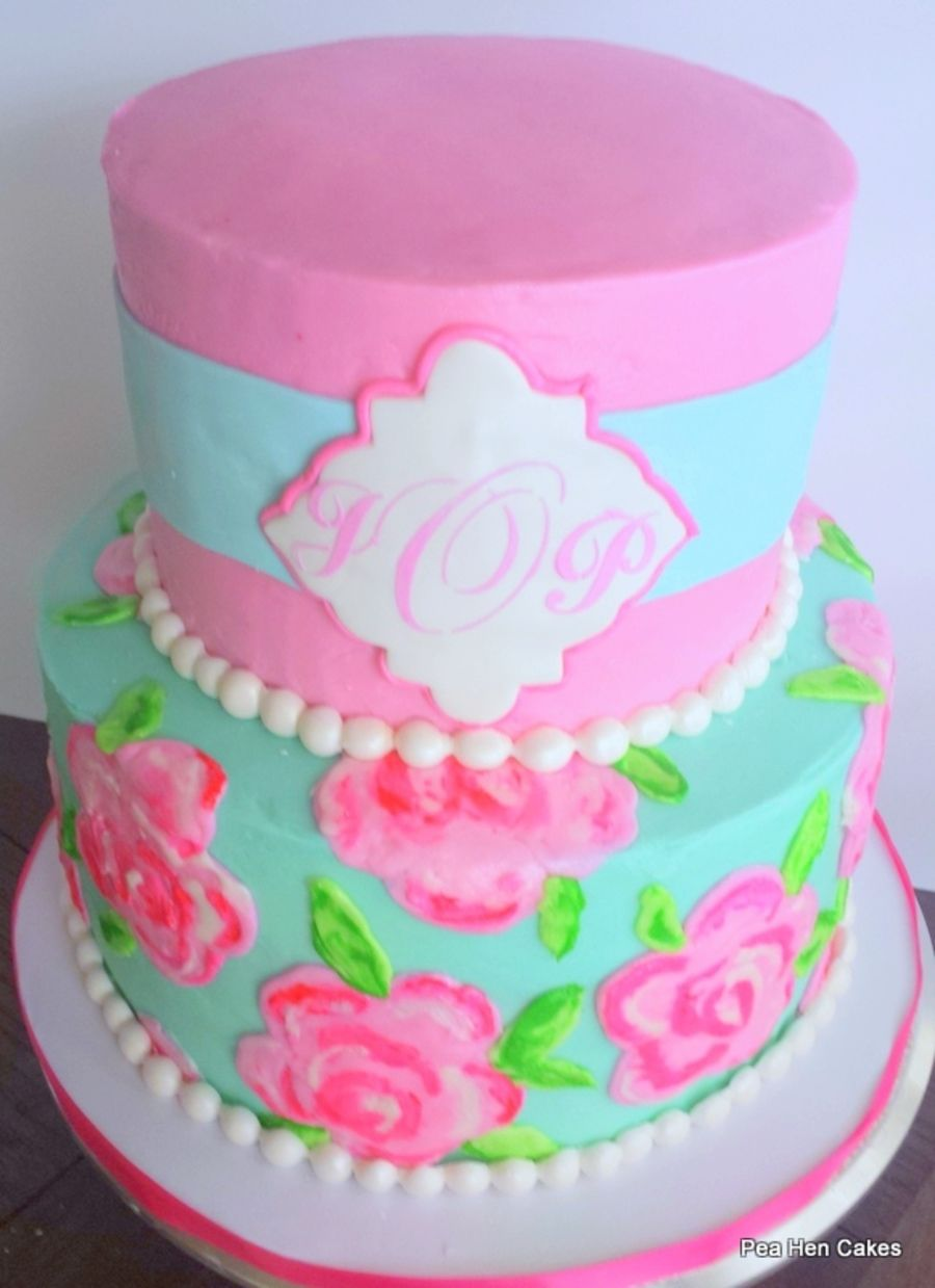 Monogram Lilly Pulitzer Inspired Bridal Shower Cake Cakes - Monogram birthday cakes