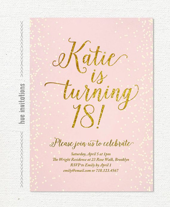 Pink Gold Glitter Th Birthday Invitation For By Hueinvitations - 18th birthday invitations wording ideas