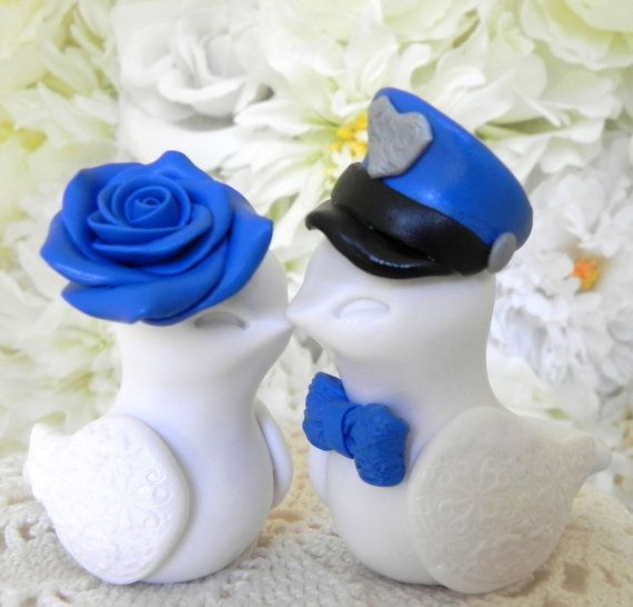 Wedding Cake Topper Love Birds Police Officer White by LavaGifts ...