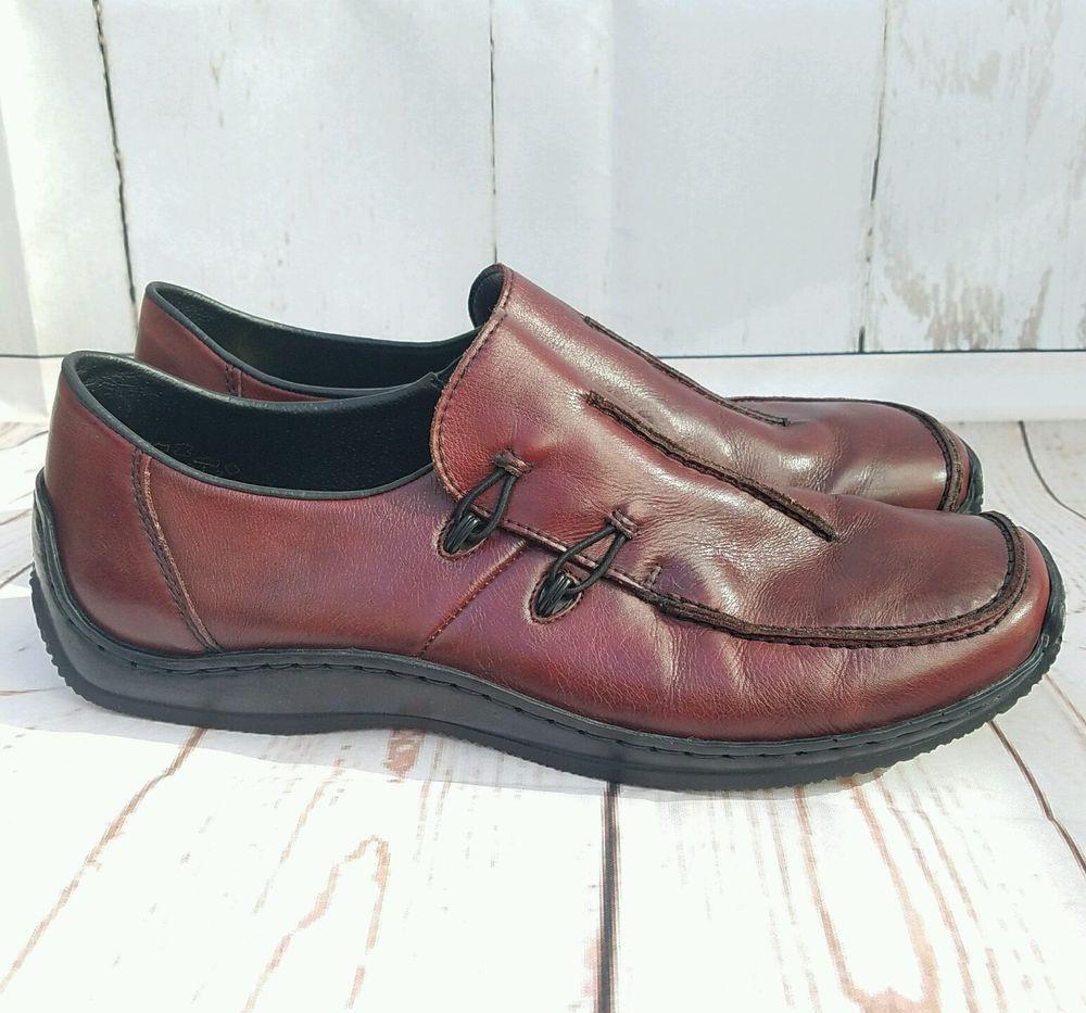 Rieker L1751 Celia 51 Women Red Maroon Loafers 40 Women's