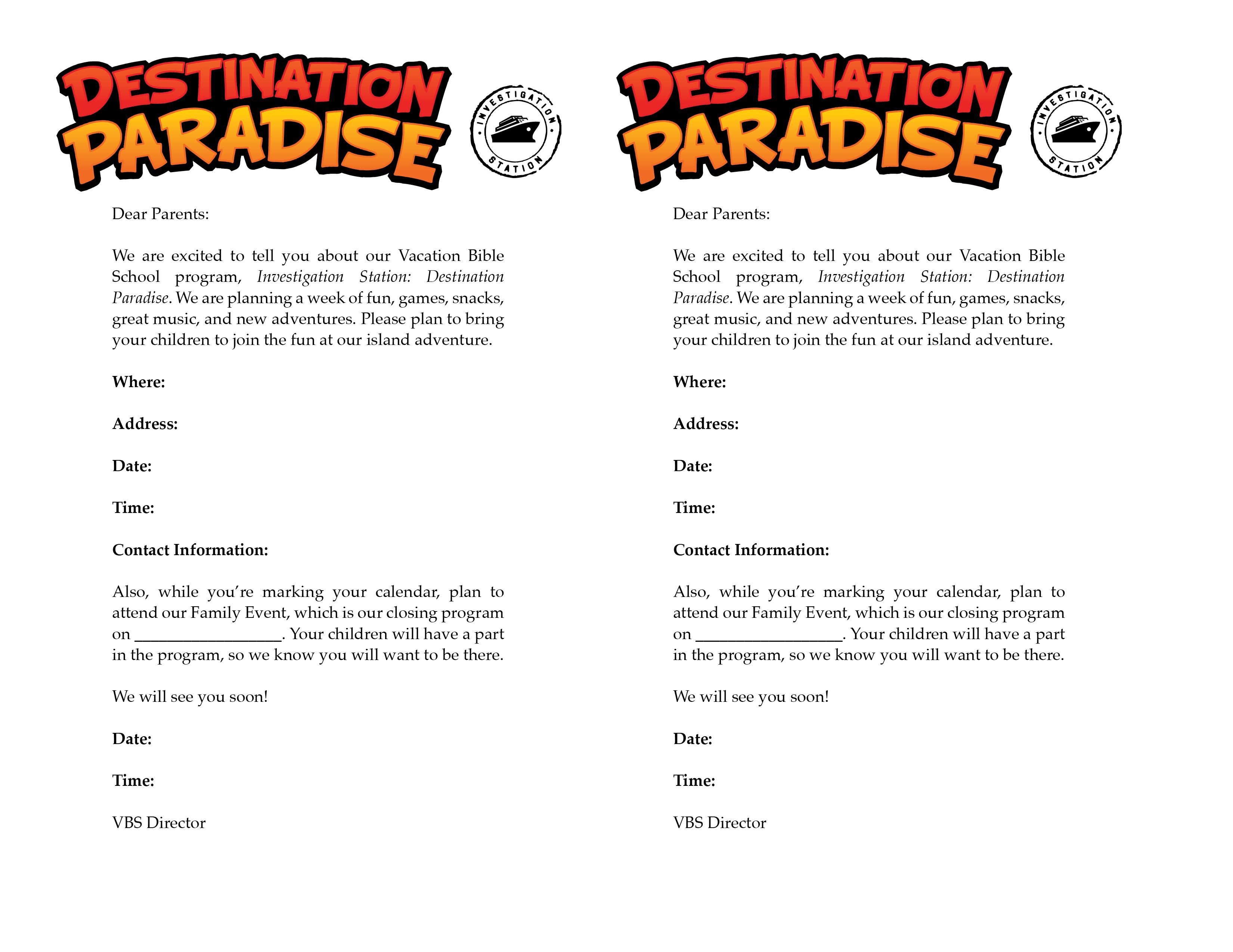 Invitation Letter For Parents  Vbs     Vacation