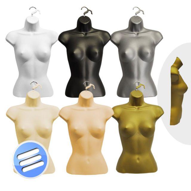 BLACK FULL FEMALE HANGING BODY FORM DUMMY DISPLAY BUST MANNEQUIN TORSO SHELL