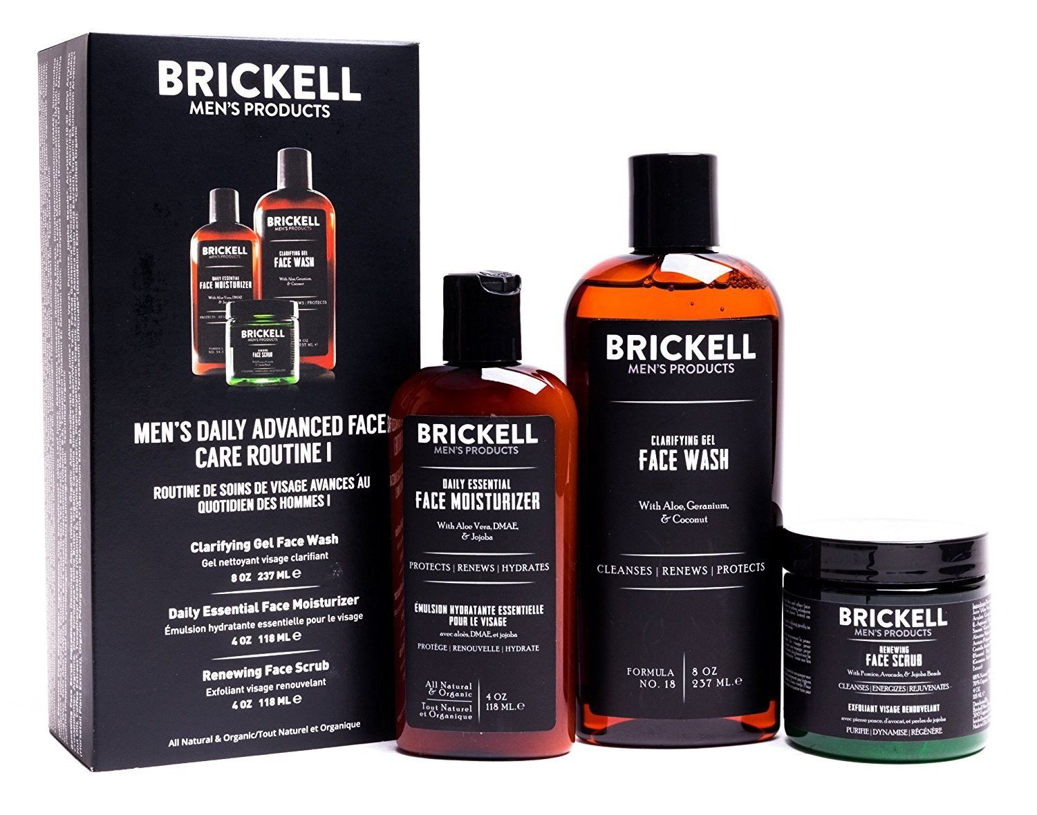 Brickell Men S Daily Advanced Face Care Routine I Gel Facial Cleanser Wash Face Scrub Face Moistu In 2020 Face Care Routine Gel Face Wash Face Care