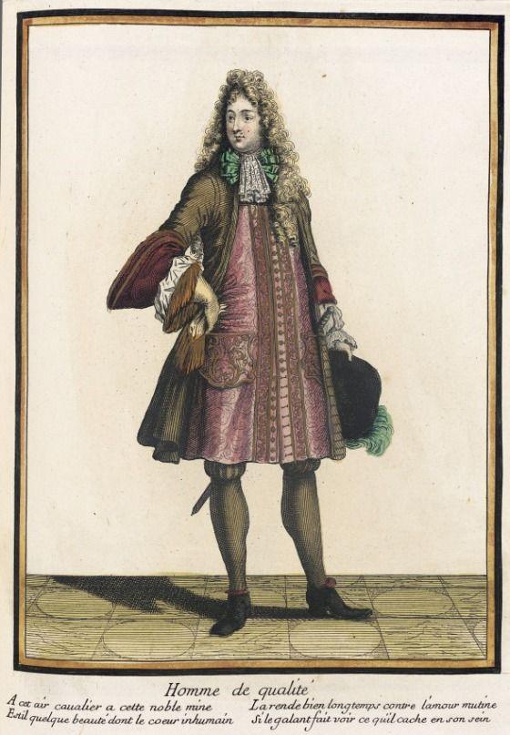 """1685 French Fashion plate """"Recueil des modes de la cour de France, 'Homme de Qualité'"""" at the Los Angeles County Museum of Art, Los Angeles"""