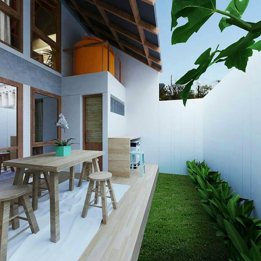 Yang Weekend Dirumah Aja Mana Suaranya Yes No Untuk Sisi Belekang Rumah Ini Homs Semoga Menjadi Inspirasi Via Gaya Rumah Rumah Desain Rumah House design with backyard