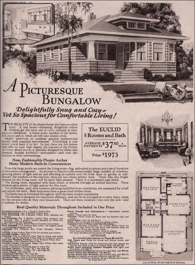 Montgomery Ward Kit Home 1930 Bungalow Hip Roof Euclid Vintage House Plans Craftsman House Plans Hip Roof