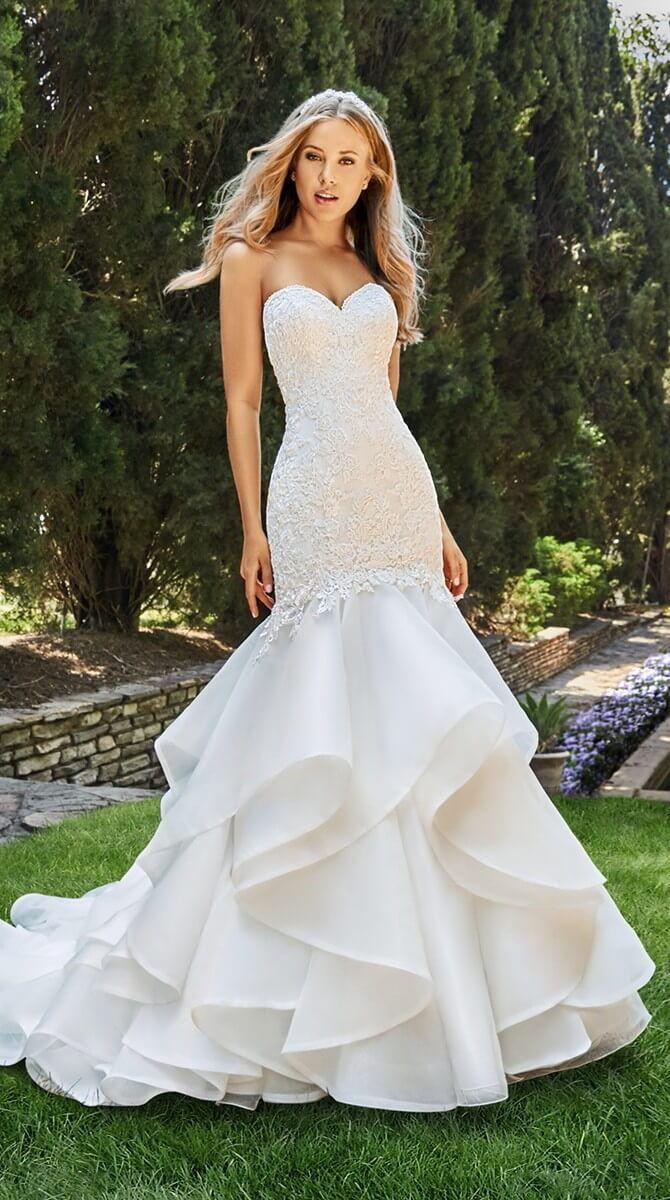What is a mermaid wedding dress  Junoesque Tulle u Organza Satin Sweetheart Neckline Mermaid Wedding