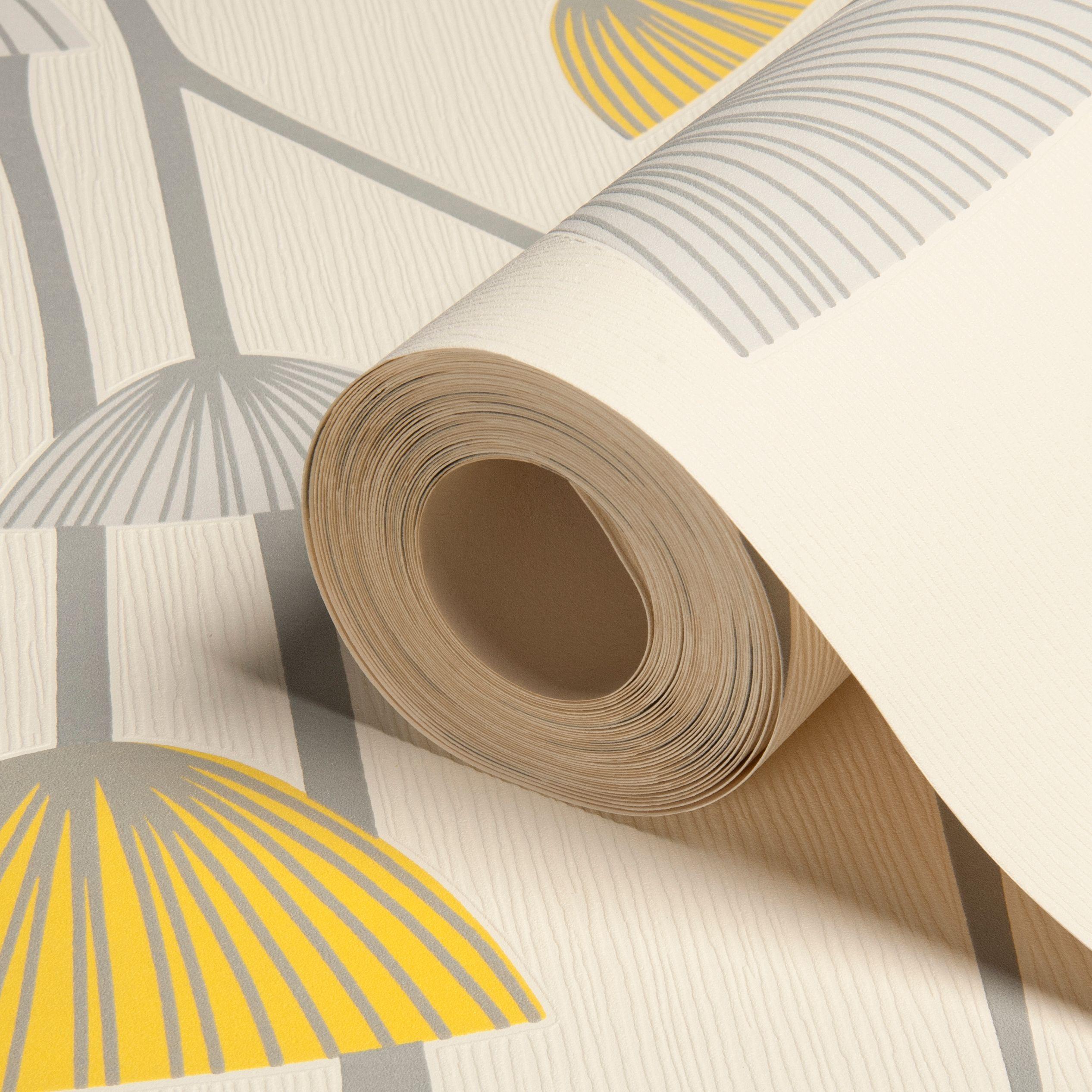 dandelion grey white yellow floral wallpaper. Black Bedroom Furniture Sets. Home Design Ideas