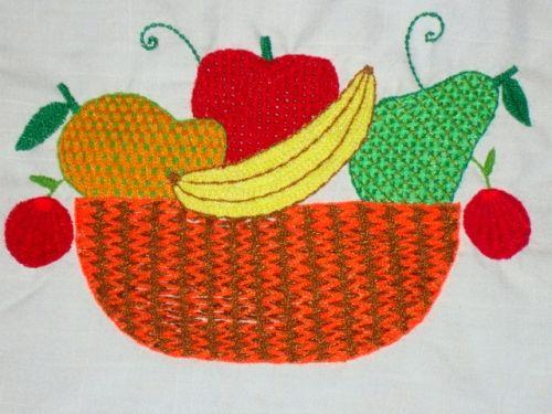 bordado com frutas - Pesquisa Google