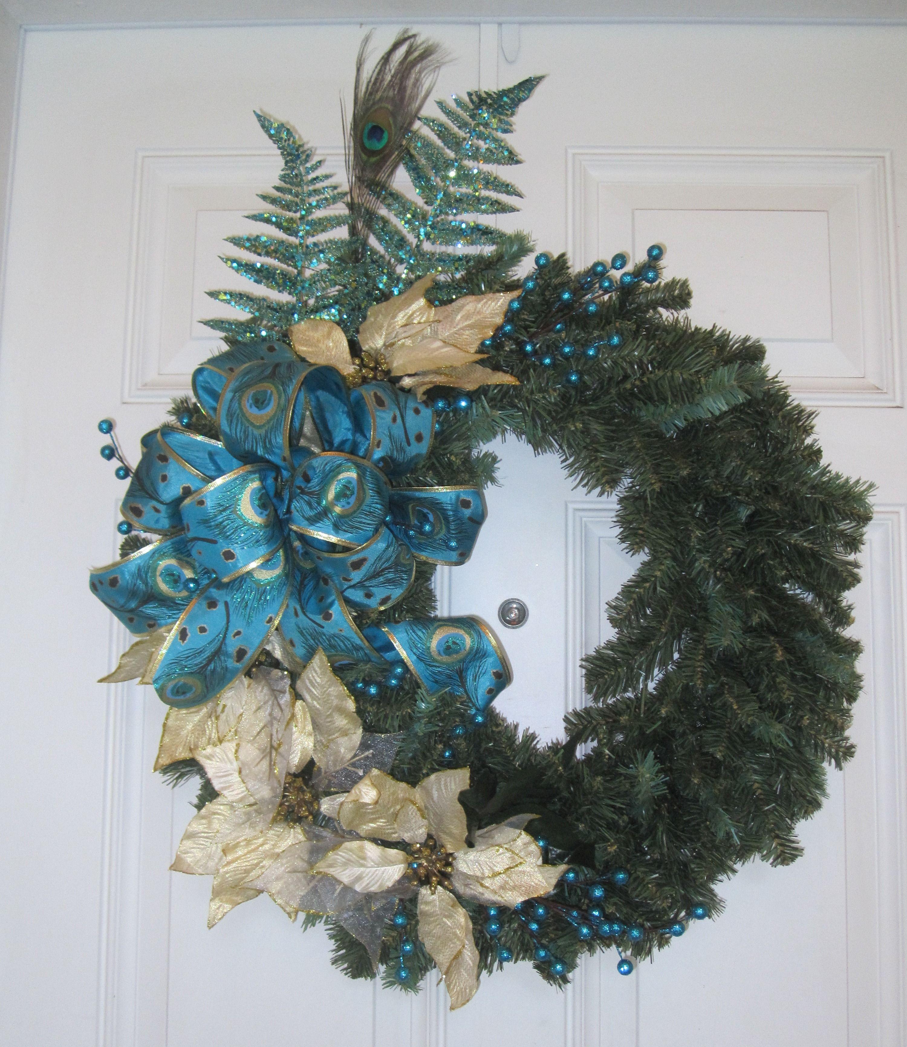 Peacock Feathers Christmas Wreath