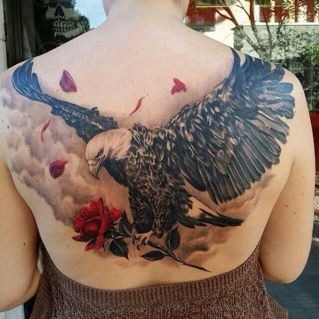 Eagle With A Rose Eagle Tattoos Rose Tattoo Design Eagle Tattoo