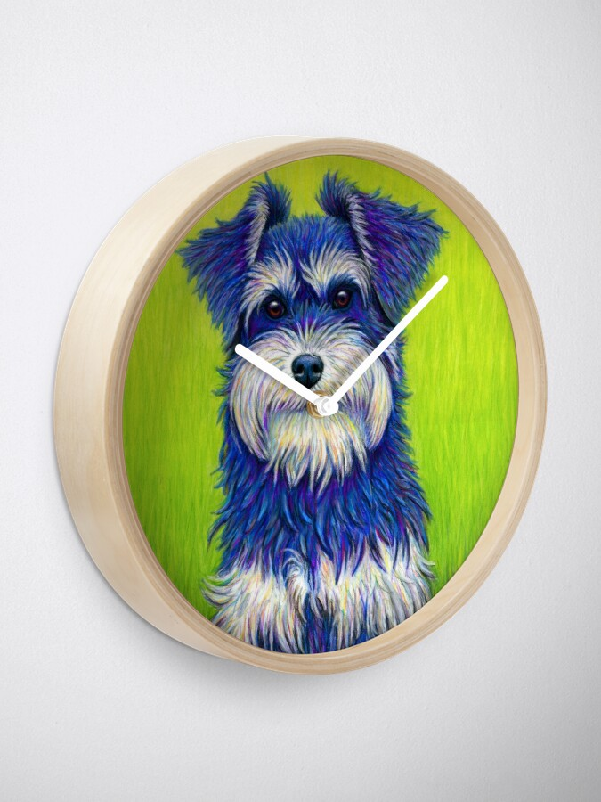 Curiosity Colorful Miniature Schnauzer Dog Clock Schnauzer Dogs Miniature Schnauzer Schnauzer