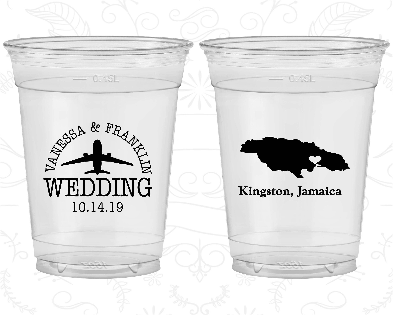 Jamaica Wedding Custom Clear Plastic Cups Destination Etsy Jamaica Wedding Wedding Soft Plastic
