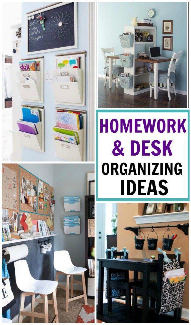 Homework desk organization