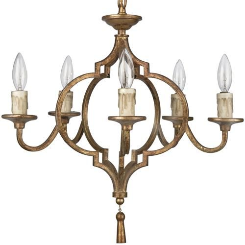 Coraline French Country Antique Gold Arabesque 5 Light Chandelier - Coraline French Country Antique Gold Arabesque 5 Light Chandelier