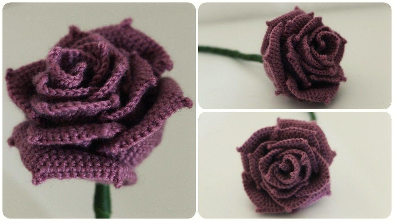 Hkelrose DIY Crochet Rose eng sub Dibujos de flores de
