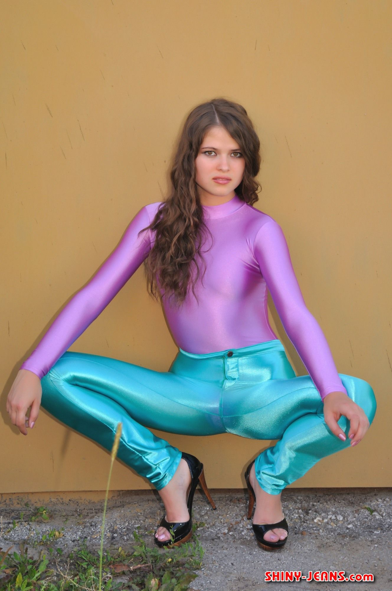 Crazy disco pants with spandex top outfit.   Spandex girls