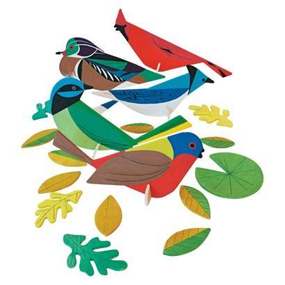 Kid Made Modern Wood Figures Painting Kit - Charley Harper Birds. Would make fun gift toppers too!