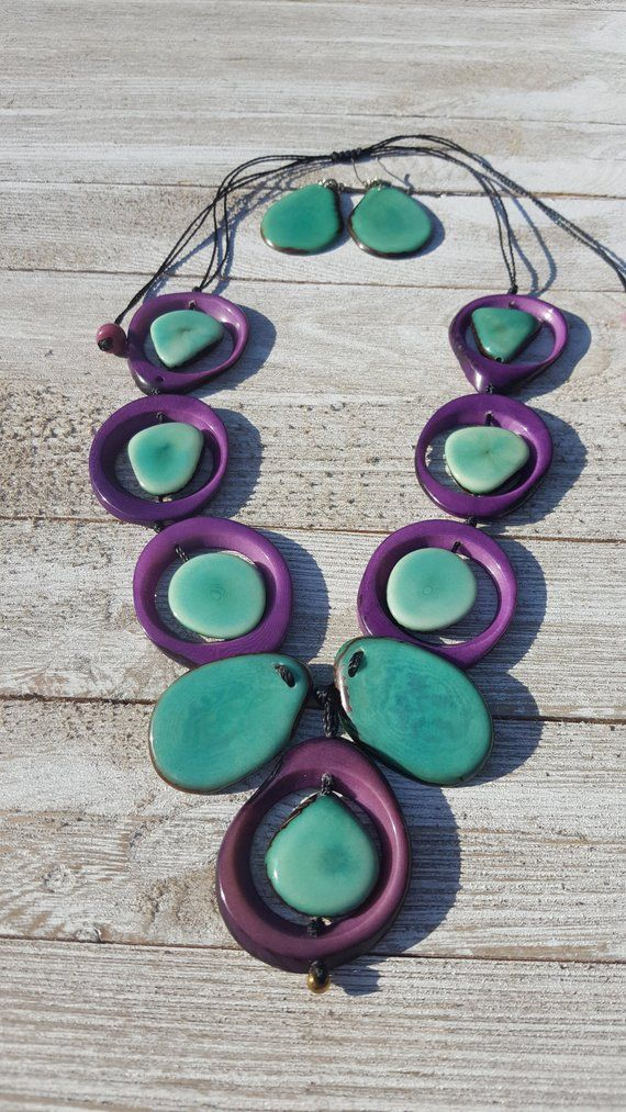 Rainforest flower/ Tagua necklace / bold jewelry/tropical