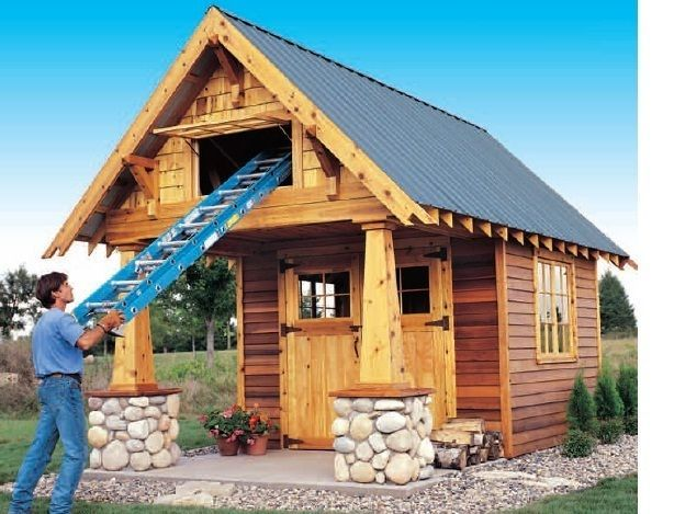 10 X 10 Playhouse Building Plans Shed Guest House Shed Design Craftsman Sheds Diy Shed Plans