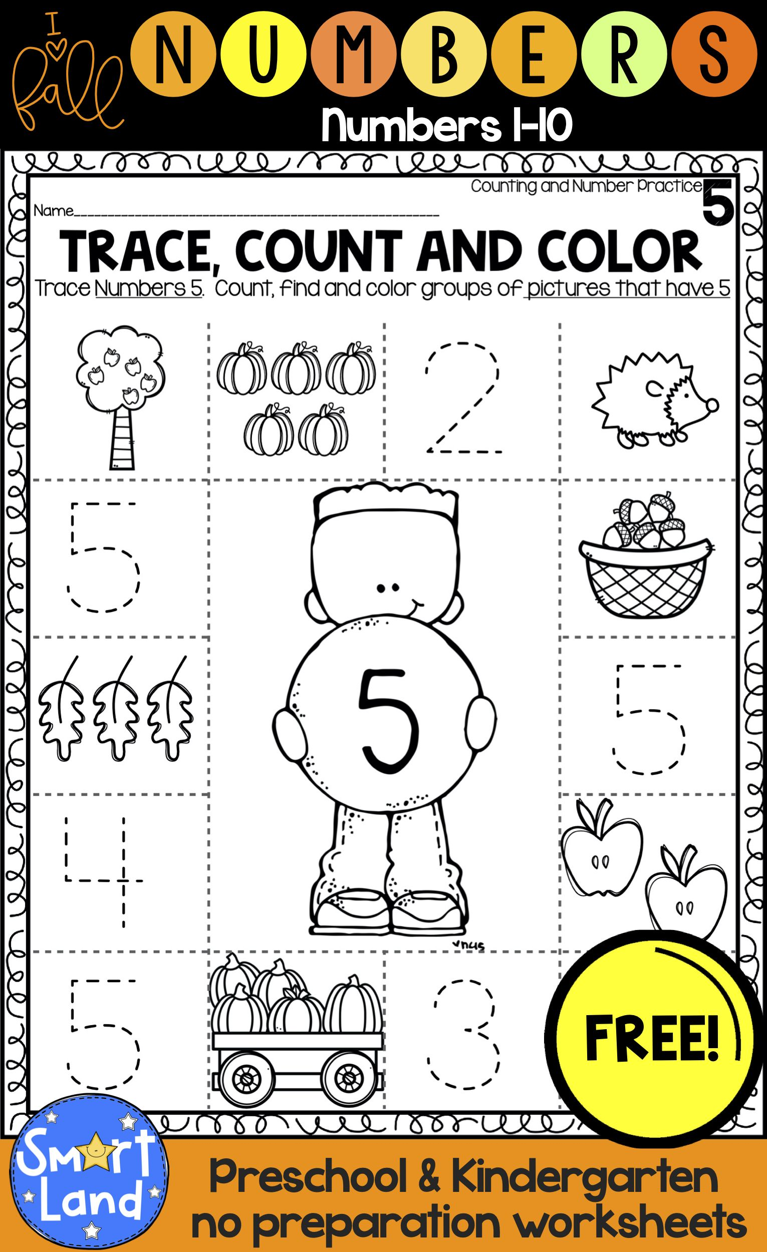 Free Hello Fall Number Practice Set