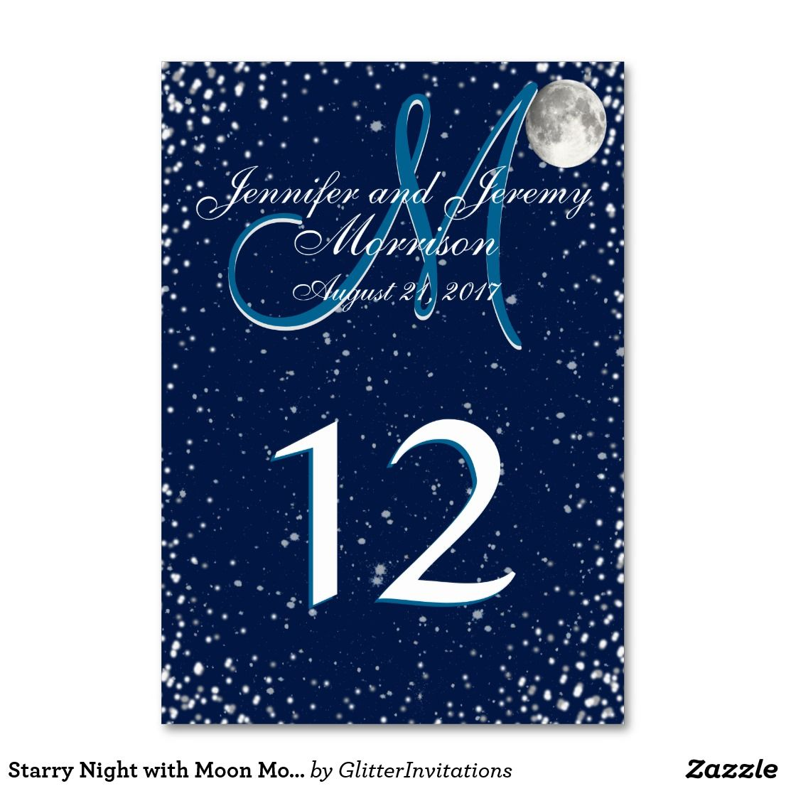 Starry Night With Moon Monogram Table Number