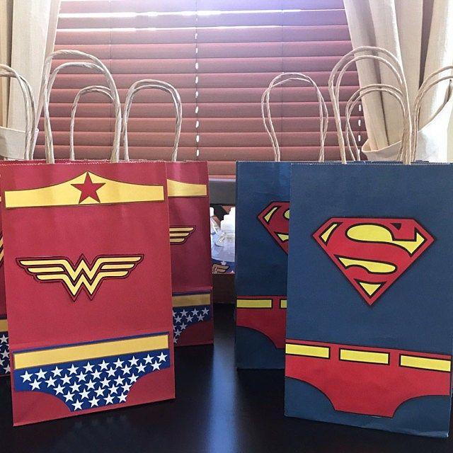 Photo of Wonder Woman & Superman Favor Bags/ Wonder Woman Birthday Party Favors/ Goodie/ Goody/ Loot/ Candy/ Treat Bags/ Bag/ Printable Decorations