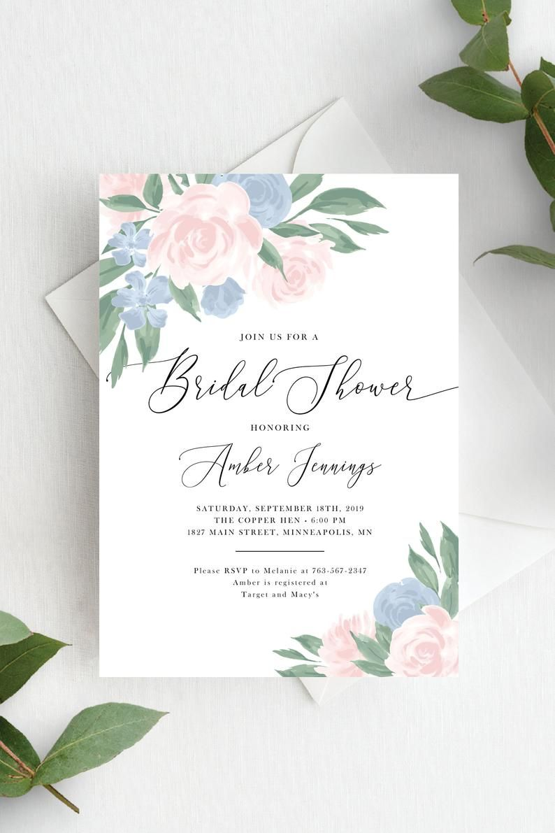 Bridal Shower Invitation Template Editable Invite Template Instant Download Blush Pink Dusty Blue Floral 137v10 In 2021 Bridal Shower Invitations Templates Blush Wedding Invitations Bridal Shower Invitations