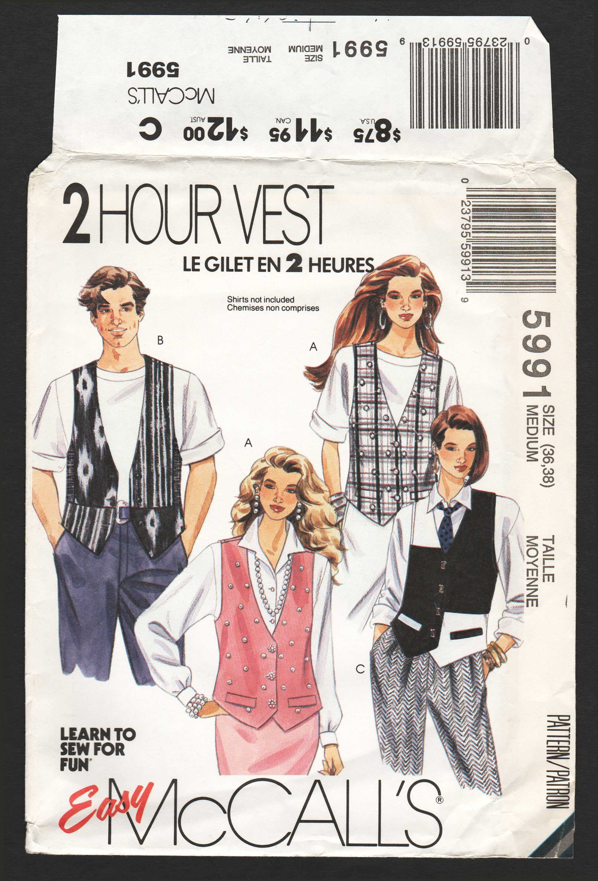 McCall/'s Sewing Pattern# 5991 Misses or Mens Vest with Variations Size 44-46