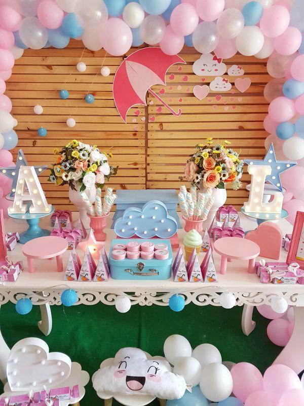 DECORACAO DE ANIVERSARIO CHUVA DE AMOR EM CAUCAIA a u751c u54c1 u684c Baby shower decorations, Baby Shower