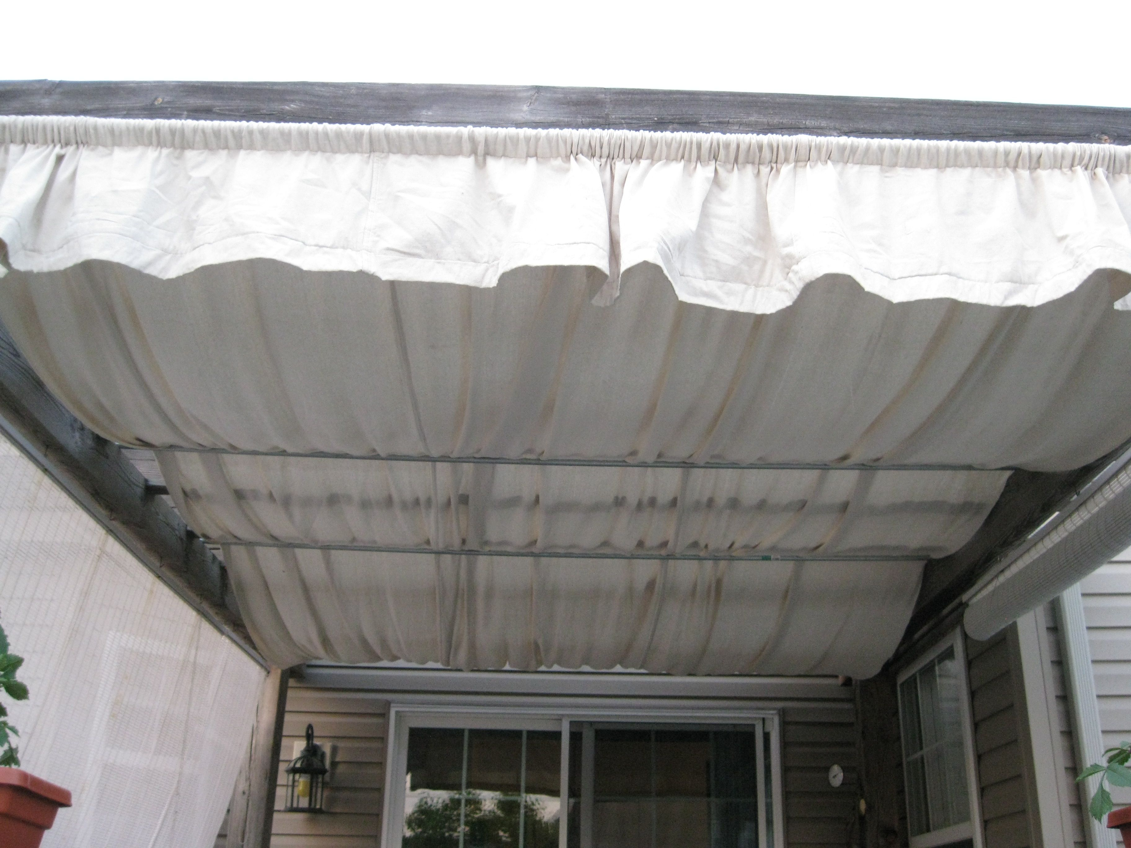 Another Use For A Drop Cloth Shade Added To A Pergola