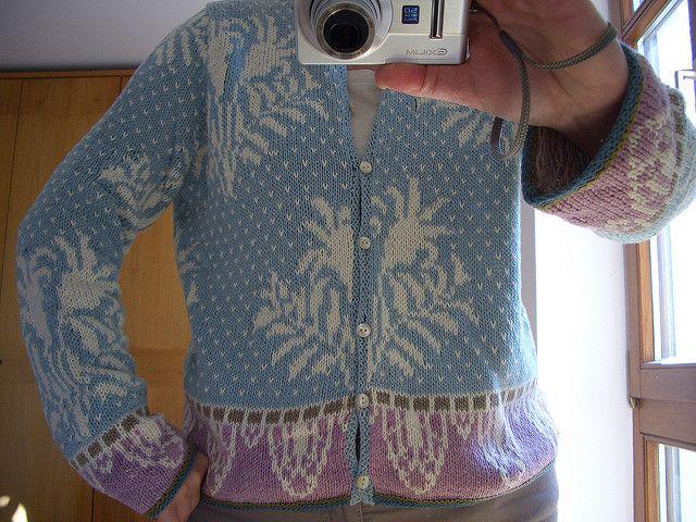 Summary: Ladies fair isle long-sleeve, round neck cardigan knit ...