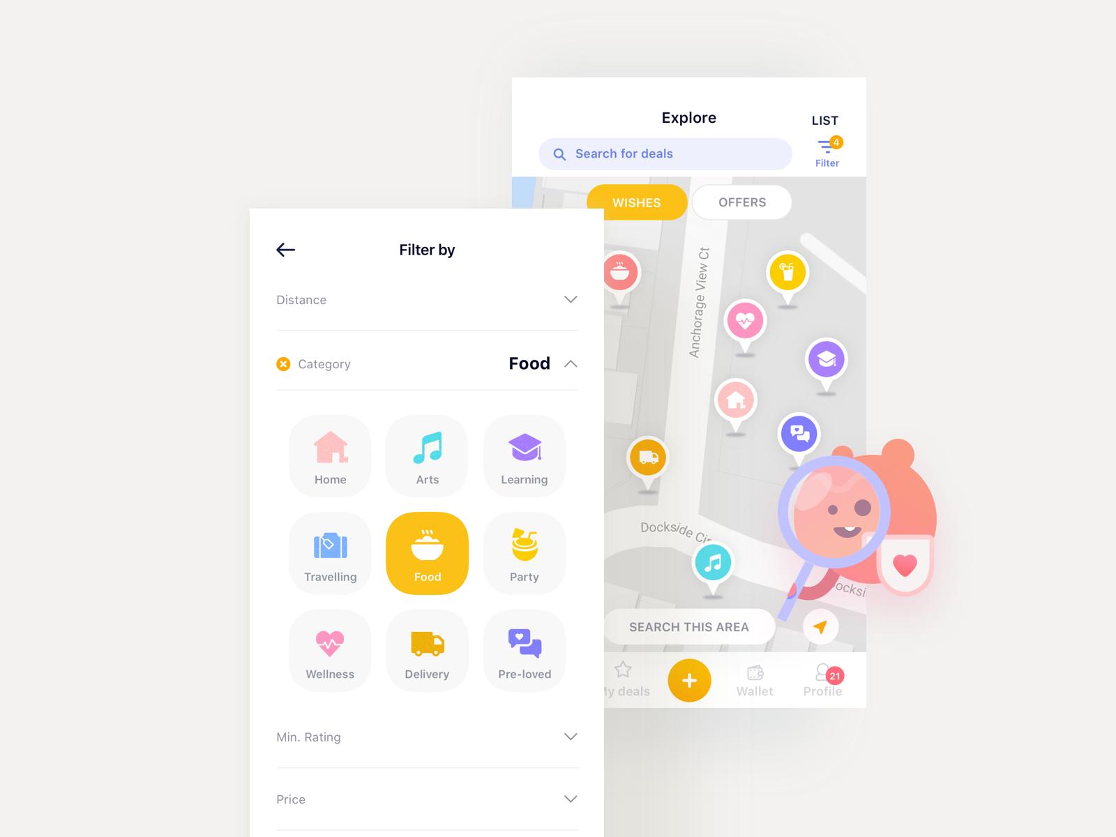 Wishu app Map & Filters App map, Map, App design