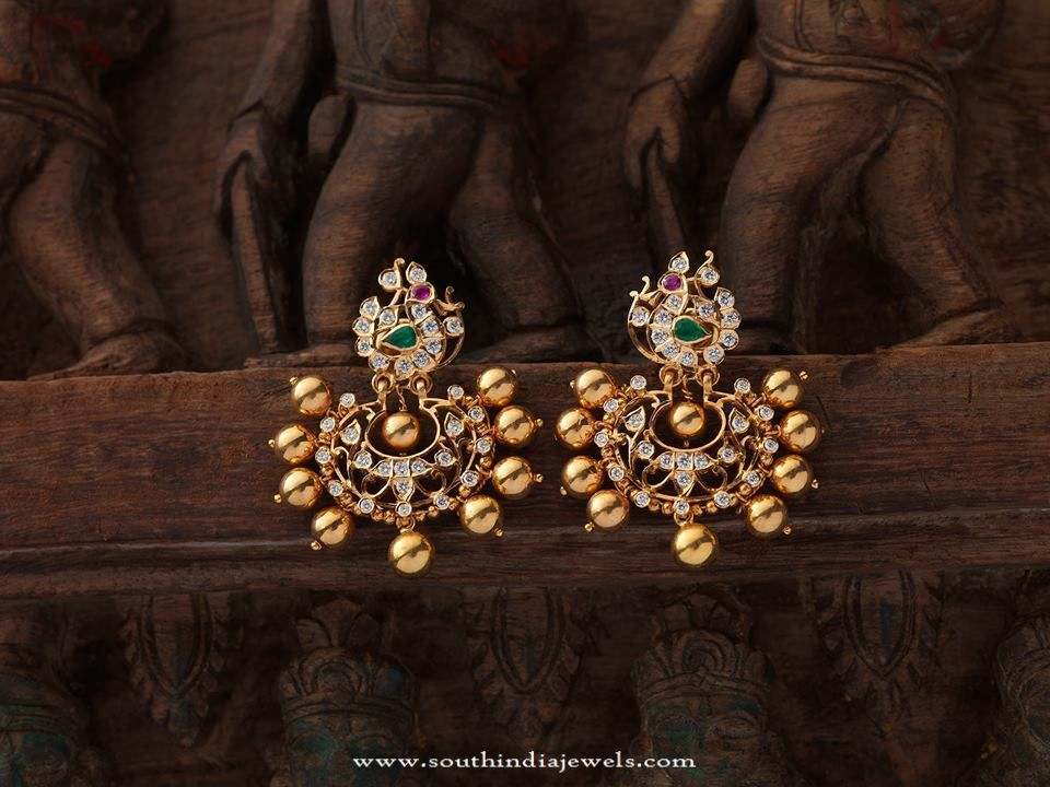Indian Antique Jewellery Designs Earrings Gold Collections