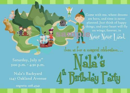 Peter Pan Neverland Printable Birthday Party Digital Invitation Katiebellepaperie Children S On Artfire