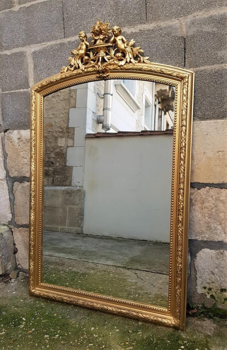 Grand Miroir En Bois Dore Et Stuc Epoque Napoleon 3 Napoleon Iii